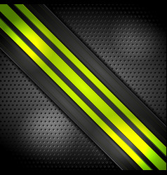 Green bright stripes on perforated background vector