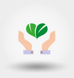 green leaves in form heart on hand vector image