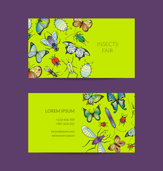 hand drawn insects business card isolated vector image