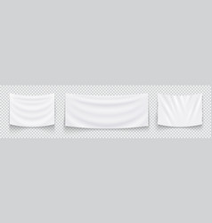 hanging empty white flags set of white textile vector image