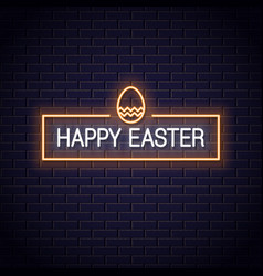 happy easter frame neon on black background vector image