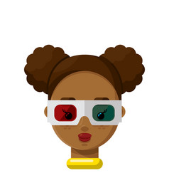 Happy girl wearing 3d glasses flat icon vector