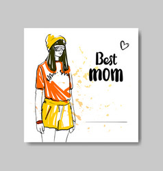 happy mother day greeting card with beautiful vector image