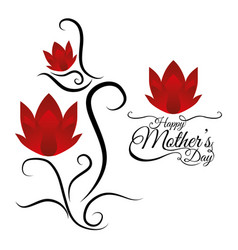 happy mothers day card lettering flowers vector image