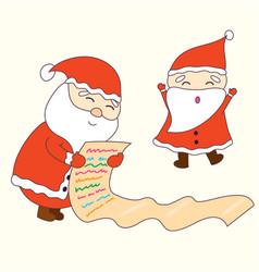 happy santa claus dacing and checking a list vector image