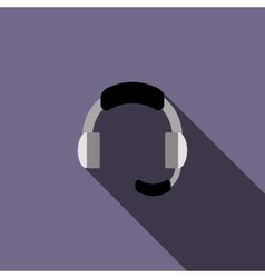 Headphone for support icon in flat style vector image