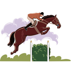 Horse and rider during a jumping competition vector