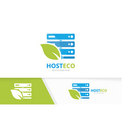 host and leaf logo combination server and vector image