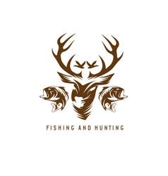 Hunting and fishing vintage emblem design template vector