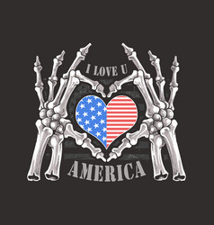 i love you america forever skull bones skeleton ha vector image
