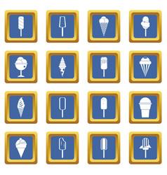 ice cream icons set blue vector image