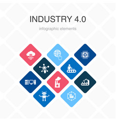 Industry 40 infographic 10 option color design vector