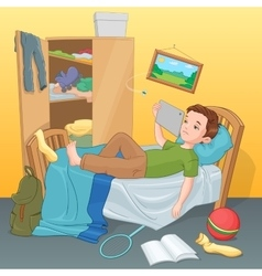 Lazy boy lying on bed with tablet vector