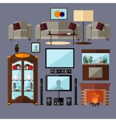 Living room interior with furniture concept vector