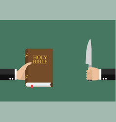 Man hold holy bible and other man hold knife vector