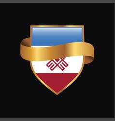 Mari-el flag golden badge design vector