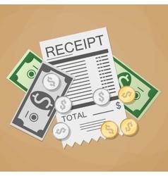 money cash and receipt vector image