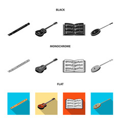 Musical instrument black flat monochrome icons vector