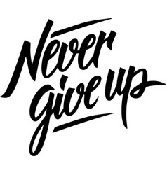 Never give up inspiration typography quote design vector
