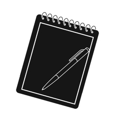 Notebook and pen icon in black style isolated on vector image