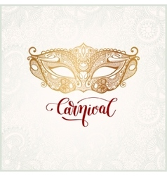 Old venetian carnival mask with ornamental floral vector