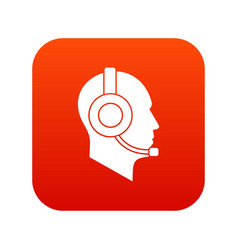 operator in headset icon digital red vector image