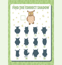 Owl find the correct shadow vertical portrait a4 vector