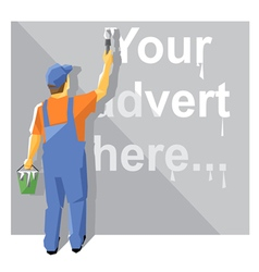 Painter in blue and orange suit with a hat vector image
