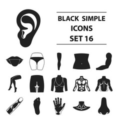 part of body set icons in black style big vector image