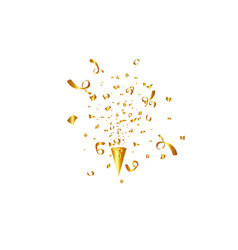 party popper isolated golden confetti vector image