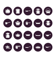 pot pan and steamer glyph icons restaurant vector image