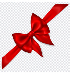 red bow with diagonally ribbon vector image