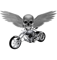 Road bike on the background of a skull with wings vector