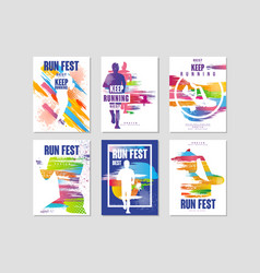 Run fest posters set sport and competition vector