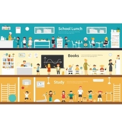 School Lunch Books Study flat interior outdoor vector image