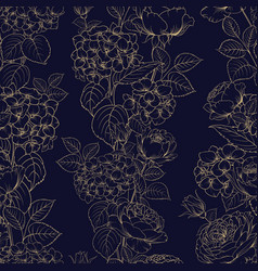 seamless pattern black and white style flowers vector image