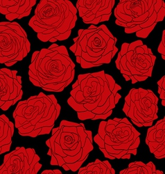 Seamless pattern of red roses on black background vector