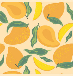 Seamless pattern with mango and leaves graphics vector