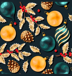 Seamless pattern with vivid christmas balls vector