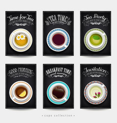 set cards with different cups coffee and vector image
