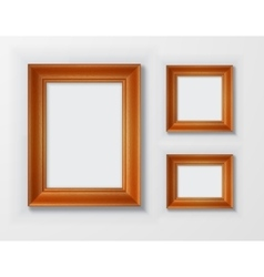 Set classic wooden frames on white background vector