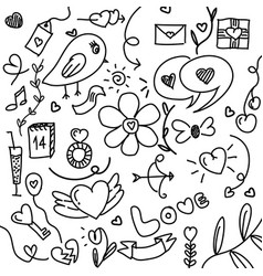 Set hand drawn elements doodle black lines vector