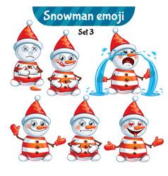 set of cute snowman characters set 3 vector image