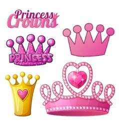 set princess crowns isolated on white vector image