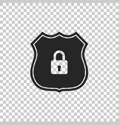 shield security icon on transparent background vector image