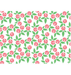 stylized pink rose seamless pattern vector image