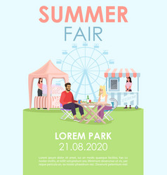 Summer fair brochure template outdoor cafe market vector