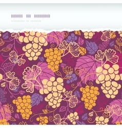 Sweet grape vines horizontal torn border seamless vector image