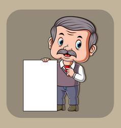 teacher holding white blank paper vector image