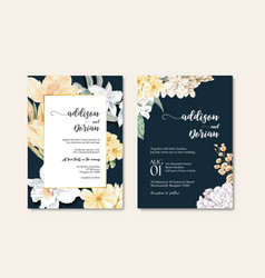 Thai flowers wedding card design vector